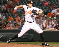 Brad Bergensen #35 of the Baltimore Orioles during a MLB game against the Seattle Mariners at Camden Yards, on August 8 2010, in Baltimore, Maryland. Orioles won 5-4 in extra innings.