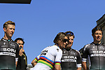 World Champion Peter Sagan (SVK) Bora-Hansgrohe team at the Team Presentation for the upcoming 115th edition of the Paris-Roubaix 2017 race held in Compiegne, France. 8th April 2017.<br /> Picture: Eoin Clarke | Cyclefile<br /> <br /> <br /> All photos usage must carry mandatory copyright credit (&copy; Cyclefile | Eoin Clarke)