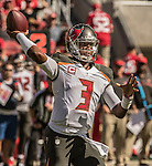 Tampa Bay Buccaneers quarterback Jameis Winston (3) passes downfield on Sunday, October 23, 2016, at Levis Stadium in Santa Clara, California. The Buccaneers defeated the 49ers 34-17.