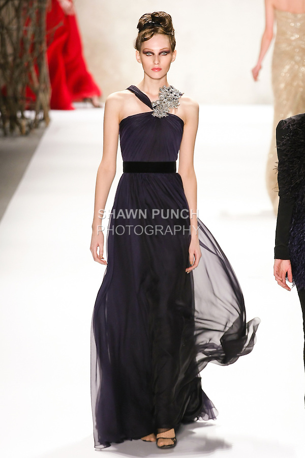 Kelsey Van Mook walks runway in a Monique Lhuillier Fall 2011 outfit, during Mercedes-Benz Fashion Week Fall 2011.