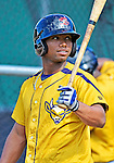 8 July 2012: State College Spikes infielder Yhonathan Barrios awaits his turn in the batting cage prior to a game against the Vermont Lake Monsters at Centennial Field in Burlington, Vermont. The Lake Monsters rallied from a 2-0 late inning deficit, to defeat the Spikes 8-2 in NY Penn League action. Mandatory Credit: Ed Wolfstein Photo
