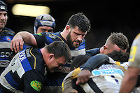 Rob Webber and the rest of the Bath Rugby forwards pack down for a scrum. Aviva Premiership match, between Bath Rugby and Wasps on February 20, 2016 at the Recreation Ground in Bath, England. Photo by: Patrick Khachfe / Onside Images