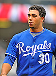 13 September 2008: Kansas City Royals' infielder Mike Aviles walks back to the dugout during a game against the Cleveland Indians at Progressive Field in Cleveland, Ohio. The Royals defeated the Indians 8-3 in the first game of their rain delayed double-header...Mandatory Photo Credit: Ed Wolfstein Photo