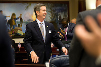 TALLAHASSEE, FLA. 5/3/13-SESSIONEND050313CH-Rep. Jim Boyd, R-Bradenton, smiles as the election reform bill passed the House during the final day of the legislative session May 3, 2013 at the Capitol in Tallahassee. The bill now goes to the Senate...COLIN HACKLEY PHOTO