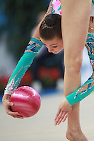Yana Lukonina of Russia performs with ball at 2009 Pesaro World Cup on May 1, 2009 at Pesaro, Italy.  Photo by Tom Theobald.