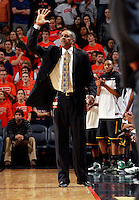 CHARLOTTESVILLE, VA- DECEMBER 6: Head coach Paul Hewitt of the George Mason Patriots calls a play during the game on December 6, 2011 against the Virginia Cavaliers at the John Paul Jones Arena in Charlottesville, Virginia. Virginia defeated George Mason 68-48. (Photo by Andrew Shurtleff/Getty Images) *** Local Caption *** Paul Hewitt