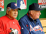 13 April 2008: Washington Nationals bench coach Pat Corrales (left) chats with Atlanta Braves' Manager Bobby Cox (right) prior to a game between the two teams at Nationals Park, in Washington, DC. Corrales was bench coach for nine years with the Braves and Cox prior to his job in Washington. The Nationals ended their 9-game losing streak by defeating the Braves 5-4 in the last game of their 3-game series...Mandatory Photo Credit: Ed Wolfstein Photo