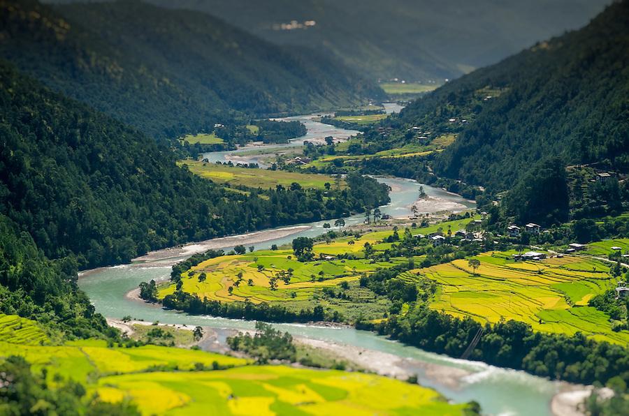 PUNAKHA, BHUTAN - CIRCA October 2014: View of mountain range and valley in Punakha, Bhutan
