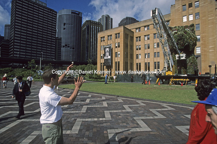 """Jeff Koons works on his """"Puppy"""" at the Museum of Contemporary Art in Sydney, Australia in 1995. Topiary is an old-fashioned form of gardening art that goes back to Roman times. This was the first of Koons' public arts projects and this piece now stands outside the Guggenheim museum in Bilbao."""