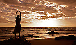 A dancer on a Kihei beach at Sunset.