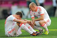 FUSSBALL   1. BUNDESLIGA  SAISON 2011/2012   33. Spieltag FC Bayern Muenchen - VfB Stuttgart       28.04.2012 Holger Badstuber (li.) mit Arjen Robben (FC Bayern Muenchen)