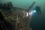 Divers on the wreck of the Lanfranc, a hospital ship sunk in WW1