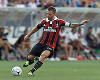 AC Milan forward Antonio Cassano (99) passes the ball. In an international friendly, AC Milan defeated C.D. Olimpia, 3-1, at Gillette Stadium on August 4, 2012.