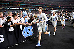 GLENDALE, AZ - APRIL 03: North Carolina Tar Heels players run up from the court after warming up prior to tip-off during the 2017 NCAA Men's Final Four National Championship game at University of Phoenix Stadium on April 3, 2017 in Glendale, Arizona.  (Photo by Jamie Schwaberow/NCAA Photos via Getty Images)