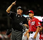 22 August 2009: MLB Umpire Mike Reilly ejects Washington Nationals' Manager Jim Riggleman during a game against the Milwaukee Brewers at Nationals Park in Washington, DC. The Nationals fell to the Brewers 11-9 in the second game of their four-game series. Mandatory Credit: Ed Wolfstein Photo