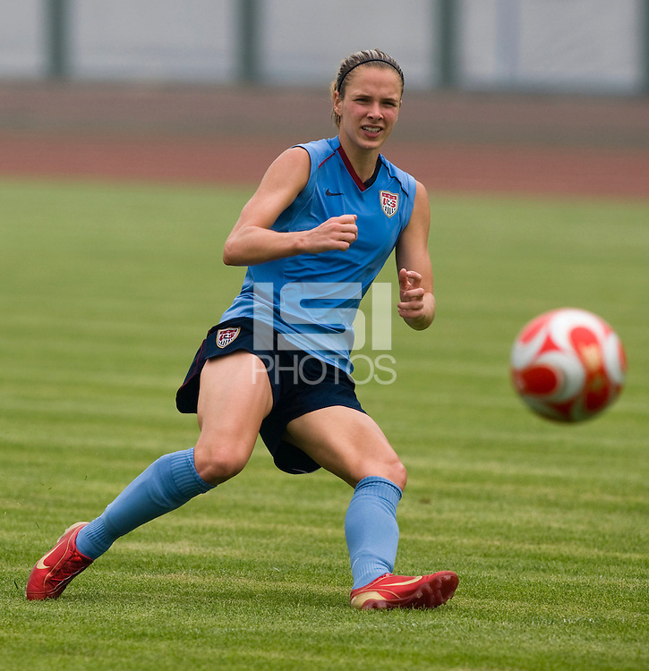 USWNT midfielder Lindsay Tarpley takes a shot while practicing at Beijing Normal University in Beijing, China.  The team will now move to Qinhuangdao to prepare for their first two group games of the 2008 Olympics.