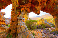 Lower arches of Lots Wife    Cederberg Wilderness,  South Africa   UNESCO World Heritage Site   Large natural arch with six opening  Northern Cape Opening