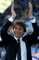 Chelsea Manager, Antonio Conte, walks around the pitch at the end of the match and celebrates with the fans during Chelsea vs Sunderland AFC, Premier League Football at Stamford Bridge on 21st May 2017