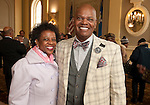 WATERBURY, CT-021517JS07---Committee member Vernecia Gatlin, left, with James H. Gatling, President and CEO of New Opportunities Inc., at the African American Mayor for the Day celebration at Waterbury City Hall. <br /> Jim Shannon Republican-American