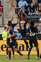 Sheanon Williams (25) of the Philadelphia Union celebrates scoring with teammates. The Philadelphia Union defeated the Columbus Crew 3-0 during a Major League Soccer (MLS) match at PPL Park in Chester, PA, on June 5, 2013.