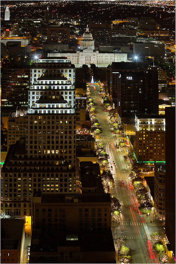 From high atop the Austonian, this is the view of Congress Avenue looking towards the capitol building. From its perch in the downtown Austin skyline, this building - the tallest in town - offers quite a view of the surrounding area.