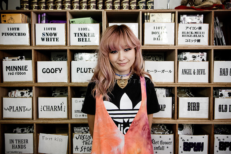 Tokyo, June 6 2013 - Young and fashionable shop staff in Harajuku.