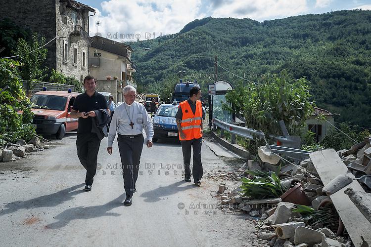 Monsignor D'Ercole arrived in the earthquake -  Terremoto in Pescara del Tronto (AP) on August 24, 2016, in Marche, Italy. Photo by Adamo Di Loreto
