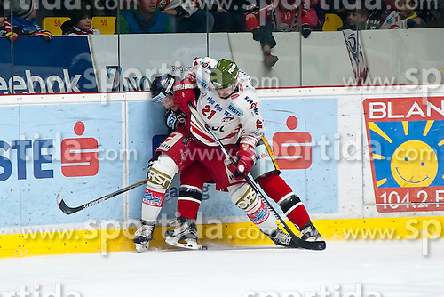 28.12.2015, Ice Rink, Znojmo, CZE, EBEL, HC Orli Znojmo vs HCB Suedtirol, 36. Runde, im Bild v.l. Ondrej Sedivy (HC Orli Znojmo) Roland Hofer (HCB Sudtirol) // during the Erste Bank Icehockey League 36nd round match between HC Orli Znojmo and HCB Suedtirol at the Ice Rink in Znojmo, Czech Republic on 2015/12/28. EXPA Pictures © 2015, PhotoCredit: EXPA/ Rostislav Pfeffer
