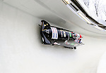 22 November 2009:  Juergen Loacker, piloting the Austria 2 bobsled, leads his 4-man team to a 19th place finish at the FIBT World Cup competition, in Lake Placid, New York, USA. Mandatory Credit: Ed Wolfstein Photo