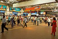 Earlu morning rush hour at the Mumbai Railway station, India