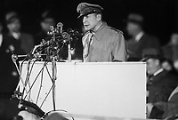Gen. Douglas MacArthur addressing an audience of 50,000 at Soldier's Field, Chicago, on his first visit to the United States in 14 years, April 1951.  Acme. (USIA)<br /> Exact Date Shot Unknown<br /> NARA FILE #:  306-PS-51-6988<br /> WAR &amp; CONFLICT BOOK #:  1377