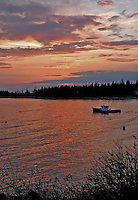 Lone Lobster Boat at Sunset  #S12