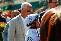 HALLANDALE BEACH, FL - FEBRUARY 04:  Trainer Todd Pletcher and jockey Javier Castellano at Gulfstream Park. (Photo by Arron Haggart/Eclipse Sportswire/Getty Images)