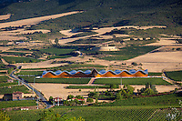 Futuristic architecture in traditional landscape Ysios Bodega winery at Laguardia in Rioja-Alaveda wine-producing area, Spain