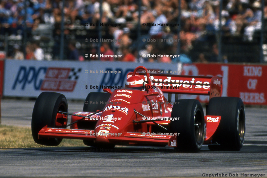 Bobby Rahal drives the Budweiser-sponsored Truesports Lola T88 during the 1988 IndyCar race at Burke Lakefront Airport in Cleveland, Ohio.