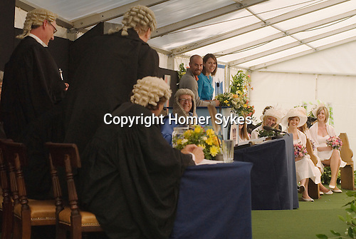 Dunmow Flitch Trial. Great Dunmow, Essex. UK 2008.  A married couple put their marriage on mock trial before six young batchelors and six young maidens.