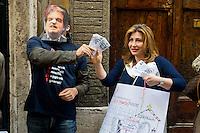 Roma 23 Maggio 2013.Manifestazione davanti alla sede del Partito Democratico  organizzata dal Coordinamento delle scuole di Roma e dal Coordinamento precari scuola Roma a sostegno del Referendum di Bologna del 26 Maggio prossimo contro i finanziameto alle scuole private e del rifinanziamento della scuola pubblica. Un manifestante con la maschera di Renato Brunetta