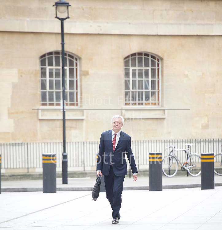 Andrew Marr Show arrivals <br /> BBC, Broadcasting House, London, Great Britain <br /> 12th March 2017 <br /> <br /> <br /> David Davis MP<br /> Secretary of State for Exiting the<br /> European Union<br /> arriving at the Marr Show <br /> <br /> <br /> <br /> Photograph by Elliott Franks <br /> Image licensed to Elliott Franks Photography Services