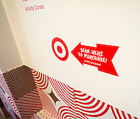 "RFID receiver in the Target ""Wonderland!"" pop-up store in the Meatpacking District in New York on its grand opening day, Wednesday, December 9, 2015. According to Target the store combines physical and digital shopping using medallions given to visitors with an embedded RFID chip. Tapping the chip to an antenna near the product lets you order it. The store is an experiment in technology replacing shopping carts with chips.  (© Richard B. Levine)"