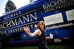 Republican presidential candidate Rep. Michele Bachmann leaves a campaign stop in Spencer, Iowa, July 31, 2011.