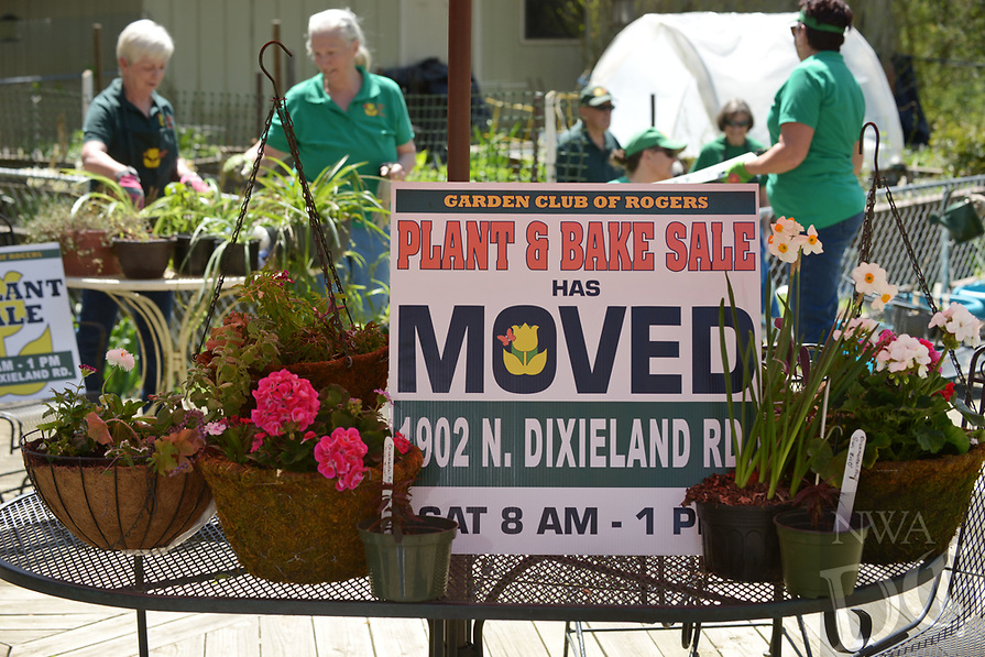 NWA Democrat-Gazette/BEN GOFF @NWABENGOFF<br /> An arrangement of plants sits on a table Saturday, April 8, 2017, as members of the Garden Club of Rogers prepare for their 42nd annual Plant &amp; Bake Sale at the home of plant sale chair Phyllis Stair in Rogers. The sale will be held at a new location this year, 1902 N. Dixieland Road in Rogers, on Saturday April 22 from 8:00am to 1:00pm.