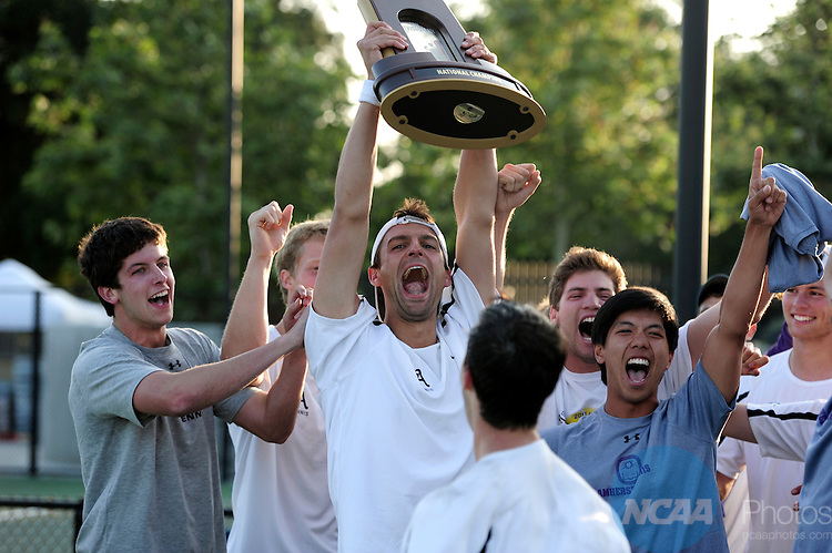 26 MAY 2011: The Amherst team celebrates their victory over Emory during the Division III Men's Tennis Championship held at the Biszantz Family Tennis Center and Pauley Tennis Complex in Claremont, CA. Amherst defeated Emory 5-2 for the national title. Stephen Nowland/NCAA Photos