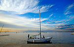 Boating on a summer evening on Lake Mendota near  the Memorial Terrace on the University of Wisconsin campus in Madison, Wisconsin.