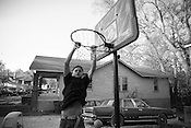 An American Craftsman house next to the neighborhood basketball court is listed for $44,500, as of April 11, 2008.