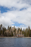 """Boat Dock on Lake Tahoe 6"" - This boat dock was photographed from a small fishing boat on the West shore of Lake Tahoe."