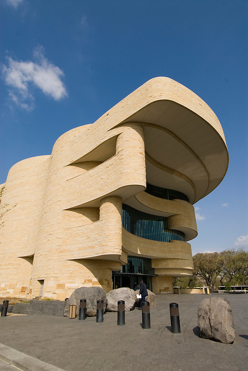 Washington, DC: National Museum of the American Indian.  External view of undulating architecture.  Photo # wash99303-70668..Photo copyright Lee Foster, www.fostertravel.com, lee@fostertravel.com, 510/549-2202