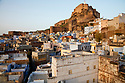 India, Jodhpur, Blue City, Historical City, overview over Blue City with Jodhpur Fort in background
