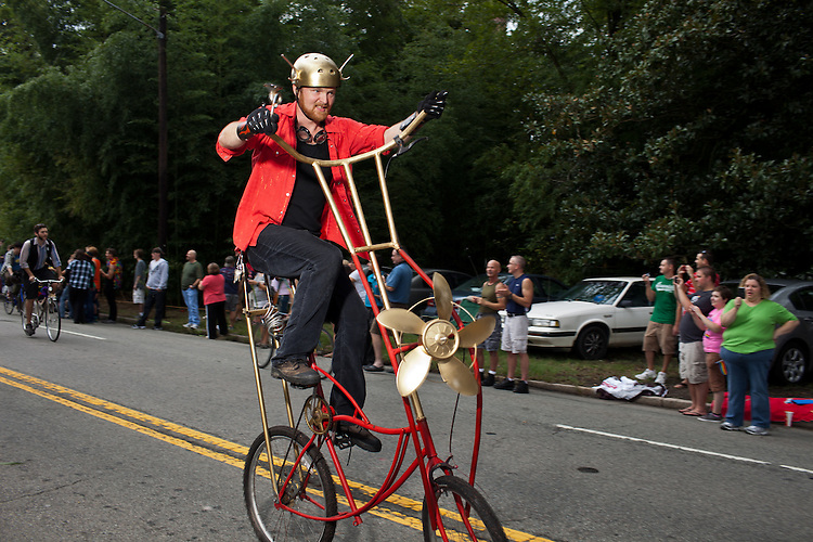 Tom Dawson rides double during the 27th annual N.C. PRIDE parade in Durham, NC, Saturday, September 24, 2011.