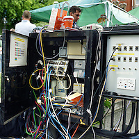 UK. London. From a story on Abingdon Street Gardens, a small patch of land, often referred to as College Green, that lies next to The Houses of Parliament in Westminster. It is a place where the media and the politicians come face to face. Interviews are held, photo shoots are set up and bewildered tourists stroll by..Photo shows an electricity mains box used by the press..Photo©Steve Forrest/Workers Photos