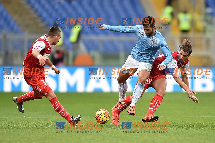 Felipe Anderson Lazio, Lorenzo Lollo Carpi.<br /> Roma 6-01-2016 Stadio Olimpico, Football Calcio 2015/2016 Serie A Lazio - Carpi. Foto Antonietta Baldassarre / Insidefoto